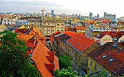 Red Roofs Framed Prints - Aerial View on Zagreb Framed Print by Dorota Nowak