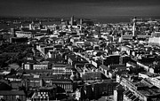 Sky Line Art - Aerial View Over The City Of Liverpool And River Mersey Merseyside England Uk by Joe Fox