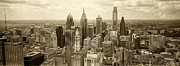 Philadelphia Posters - Aerial View Philadelphia Skyline Wth City Hall Poster by Jack Paolini