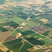 Delta Town Framed Prints - Aerial View Roads in an Agricultural Community Framed Print by Eddy Joaquim