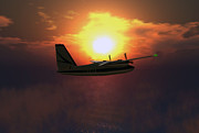 Clouds Digital Art - Aero Commander at Sunset by Mark Weller