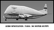 Usaf Prints - Aero Spacelines Super Guppy Drawing Print by Tim Mulina