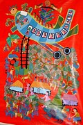 Gond Art Art - Aeroplane In Tribal Village by Durga Bai Vyam
