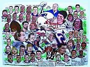 Football Drawings Framed Prints - AFC Champions N.E. Patriots newspaper poster Framed Print by Dave Olsen
