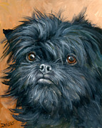 Dog Artist Painting Prints - Affenpinscher Portrait Print by Dottie Dracos