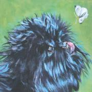 Toy Dog Paintings - Affenpinscher with butterfly by L A Shepard