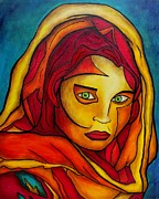 National Painting Posters - Afghan Girl Poster by Darlene Keeffe