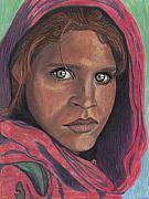 National Drawings Prints - Afghan Girl Print by Jean Haynes