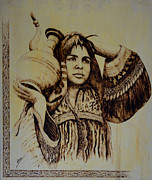 Portrait Pyrography Originals - Afghan Koochi Woman by Raz Mohammad Amir