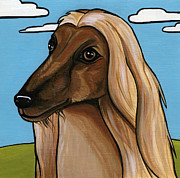 Dog Breeds Paintings - Afghan by Leanne Wilkes