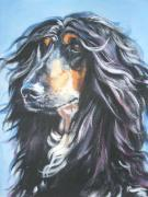 Afghan Hound Paintings - Afghan Portrait by L A Shepard