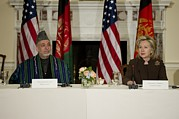 Hillary Framed Prints - Afghan President Hamid Karzai And Sec Framed Print by Everett