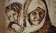 Portrait  Pyrography - Afghan Woman by Raz Mohammad Amir