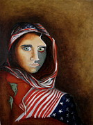 Flags Paintings - Afghangirl revisited by Martin Davis