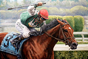 Jockey Paintings - Afleet Alex by Thomas Allen Pauly