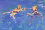 Swimmers Paintings - Afloat by William Ireland