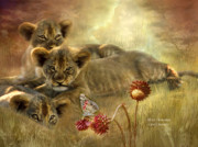 Lions Mixed Media Prints - Africa - Innocence Print by Carol Cavalaris