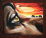 Sunset Posters Painting Framed Prints - Africa Framed Print by Helene Fallstrom
