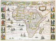 Africa Drawings Framed Prints - Africa Nova Map Framed Print by Willem Blaeu
