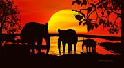Elephants Digital Art - Africa by Robert Orinski