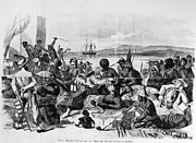 Slavery Ship Prints - AFRICA: SLAVE TRADE, c1840 Print by Granger