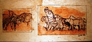 Elephant Pyrography Originals - Africa wildlife 1-the original pyrography by Egri George-Christian