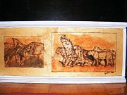Log Cabin Art Pyrography Prints - Africa Wildlife Print by Egri George-Christian