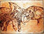 African Pyrography Prints - Africa wildlife -original pyrography finish Print by Egri George-Christian