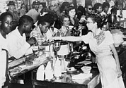 Waitress Photo Prints - African American Being Served At Kress Print by Everett
