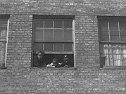 African American Children At Window Print by Everett