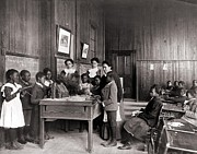 American School; (19th Century) Framed Prints - African American Children Learning Framed Print by Everett