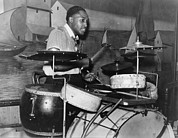 Drum Set Framed Prints - African American Drummer In Orchestra Framed Print by Everett
