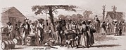 African-americans Metal Prints - African American Freedmen Receiving Metal Print by Everett