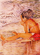 African American Girl On The Beach Print by Candace  Hardy