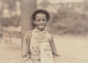 Lewis Wickes Hine Prints - African American Newsie, Original Print by Everett