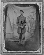 African-americans Photo Framed Prints - African American Soldier Posed In Front Framed Print by Everett