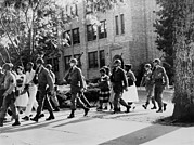 Discrimination Photo Prints - African-american Students Leaving Print by Everett