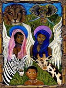 Spiritual Portrait Of Woman Prints - African Angels Print by The Art With A Heart By Charlotte Phillips