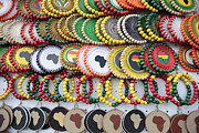 Rastafarian Framed Prints - African Beaded Earrings Framed Print by Neil Overy