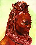 Featured Paintings - African Beauty by Enzie Shahmiri