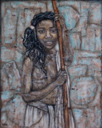African Art Portrait Paintings - African Beauty I by Rain Ririn