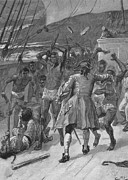 African Captives Fight Against A 18th Print by Everett