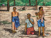 Africa Pastels Framed Prints - African Children Framed Print by Reb Frost