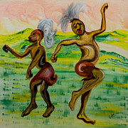 Abstract Dance Painting Originals - African Dance by Emma Kinani