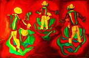 Colorful Photos Painting Prints - African Dancers Print by Carole Spandau