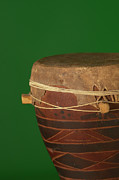 Drum Prints - African Drum On Green Backgound Print by Philip Haynes