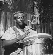 Black And White Drum Posters - African Drumbeat Poster by Jacobsen