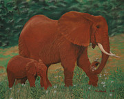 Africa Pastels Originals - African Elephant and baby by Charles Hubbard