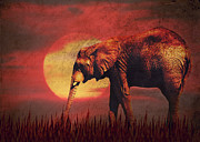 Animal Mixed Media Metal Prints - African elephant Metal Print by Angela Doelling AD DESIGN Photo and PhotoArt