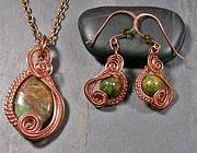 Jordan Jewelry - African Green Opal and Copper Swish Set by Heather Jordan